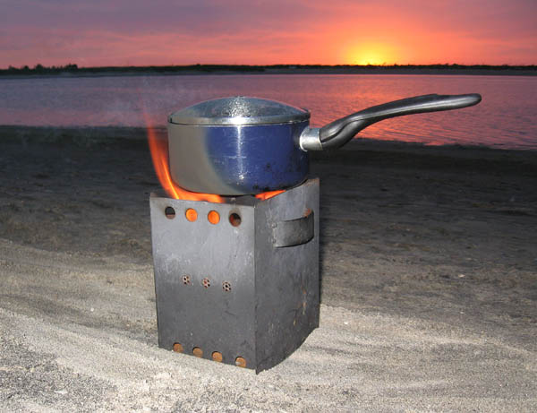 Sunset cooking at the beach with our prototype Wood Pellet Camp stove